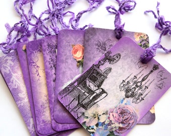 4 Purple & Lace Paris Gift Tags, Note Tags, Hang Tags, Merchandise, Party Favor by Takuniquedesigns
