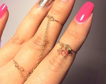 MIDI Chained Rings / Bohemian, Gold Filled, Sterling Silver, Mid Fingers, Boho Ring / Anabel Nove