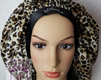 Velvet Leopards skin satin bonnet with comfortable fit for natural and all hair type