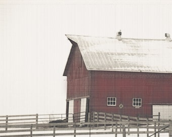 Red Barns, Winter Landscapes, Red and White, Farms, Office Decor, 12 x 18 Prints