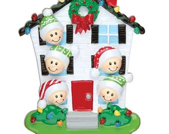 House Family of 5 Personalized Christmas Ornaments - Personalized Names