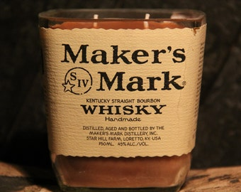 Maker's Mark Whisky Candle / Recycled Bourbon Bottle Candle / Whisky Gift, Man Candle Handmade Soy Candle, Whiskey Gifts / Father's Day Gift