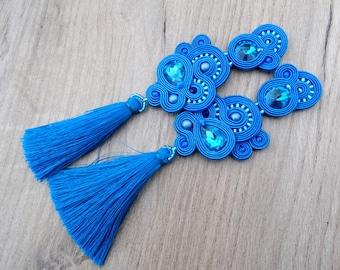 Long Tassel Earrings, Royal Blue Earrings, Clip On Earrings, Soutache Earrings, Blue Soutache Earrings, Long Clip Earrings