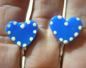 "Play Earring - Clip - Polka Dot Heart -  Blue - 5/8"""