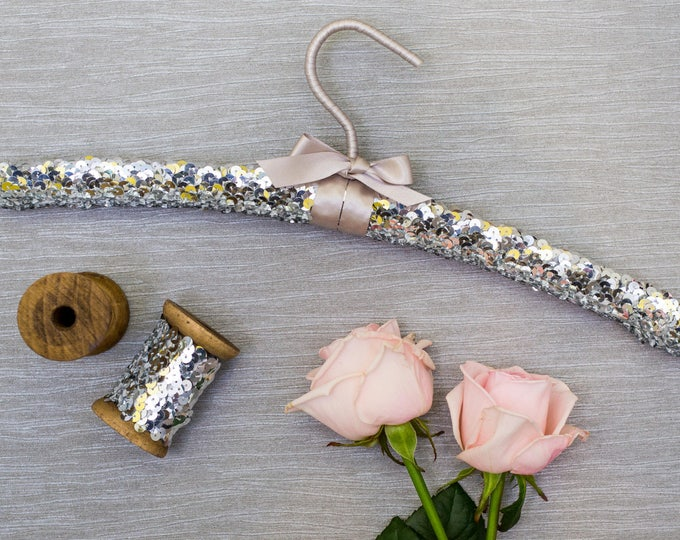 Luxury Silver Sequin Wedding Hanger