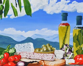 "Acrylic painting ""anti Pasti"" Italian cuisine"