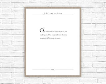 A Return to Love Quote | Mariane Williamson quote | Nursery Decor for Baby | Inspiring Quotes | Powerful Beyond Measure | Classic Lit Quote