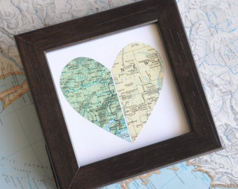 Personalized Graduation Gift for Long Distance Love Gift for Him Gift for Sister Gift for Best Friend Gift for Girlfriend Map Heart Framed