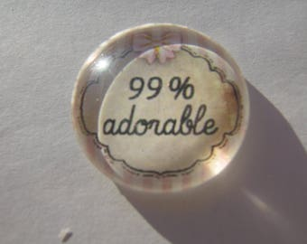 Cabochon 25 mm round domed with his adorable pink and white stripes 99% writing image