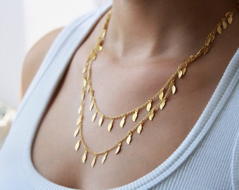 Long leaves drops necklace, gold chain, 24k gold necklace, delicate necklace, long gold necklace, 24k necklace, gold long necklace