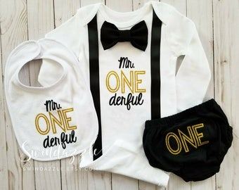 Mr. ONEderful - Mr ONEderful shirt - ONEderful outfit - ONEderful first birthday theme - black and gold ONEderful theme - cursive