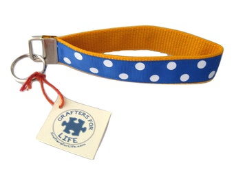 Blue with White Dots Key Chain with Gold Backing