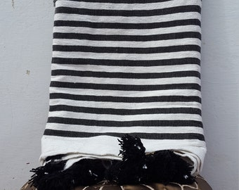 Moroccan Pom Pom Throw Blanket Striped, Handmade From Organic Cotton, Black & White Color, King Size (FREE SHIPPING)