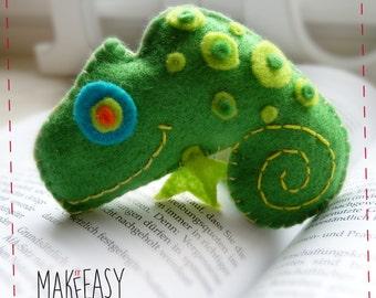 Chameleon - Felt pattern and Tutorial - DIY - Making pattern PDF - Plushie animal Instructions