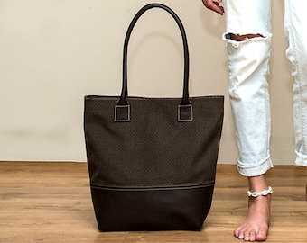 Sale!! Brown tote bag Leather and fabric tote - Brown tote , Handmade with LOVE