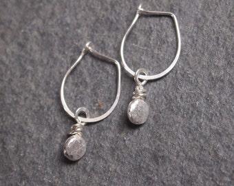 Silver Earrings, Pebble Earrings, Handmade Earrings
