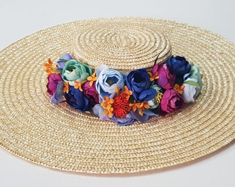 Natural Straw Canotier with flowers