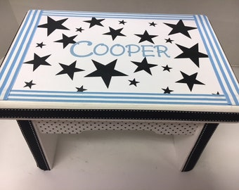 Little Boy's Bench- Black and White Stars with Light Blue