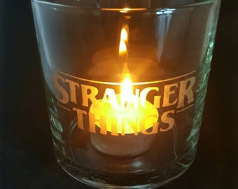Etched Stranger things candle holder