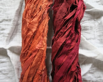 Autumn Sari Silk Ribbon Pack, Choose Your Colour Combo, Recycled Craft Yarn, Wedding Supplies, Fibre Arts, Textile Arts, Weaving