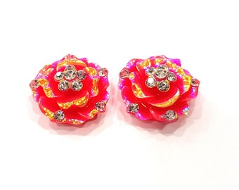 2 Rainbow Red Flower Cameo Cabochon 20mm  G12247