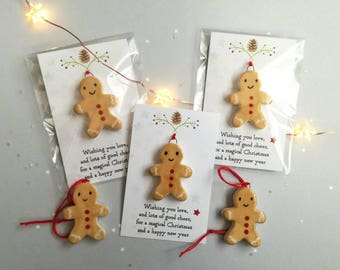 Gingerbread man decoration and gift card. Little pottery ginger bread man Christmas ornament, hand painted