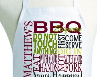 Personalized Barbecue Etiquette Apron, Personalized Dads Apron, Personalized Apron
