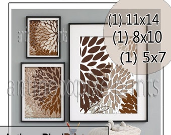 Collage Browns Tans Floral Art Wall Gallery Digital Print  - Set of (3) -  Prints -  11x14, 8x10, 5x7 (UNFRAMED)