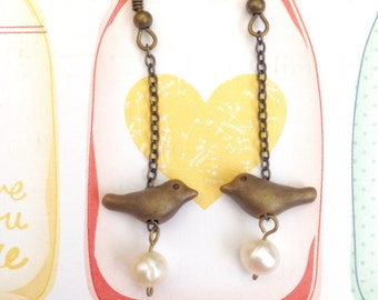 Fresh Water Pearl Little Birdies Antique Brass Earrings, Bird Earrings, Cute Earrings, Dangle Earrings, Girl Earrings, Christmas Gift