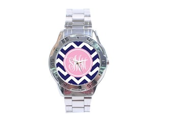 Monogrammed Boyfriend Style Watch- Mix and Match Patterns and Colors