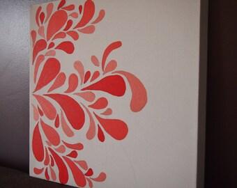 Whimsical Coral Wall Art- Modern Wall Art- Acrylic on Canvas- Customizable