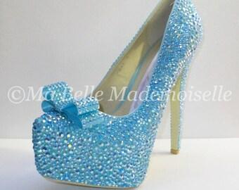 Tiffany blue heels etsy bling blue wedding shoes bling shoes crystal bridal shoes wedding shoes bow junglespirit Images