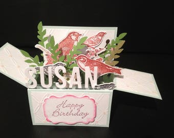 Handmade 3D card in a box - birds, PERSONALISED