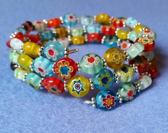 Multicolored Millefiori Glass and Silver Plated Bead Wrap Bracelet