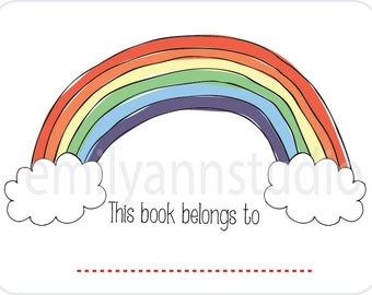 Rainbow Book Plates This Book Belongs To Labels Set of 15