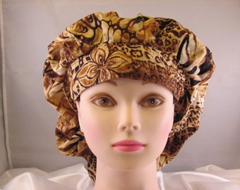 Women's Bouffant Scrub Hat Animal Print