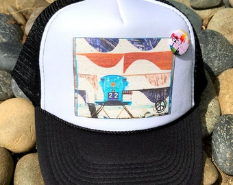 Trucker Hats, TOWER 22, limited ed. with custom made Pin Back button, One Size Fits All, foam trucker hat, Beach, Surf, Ocean, waves, gift