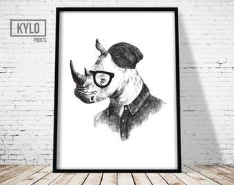 Rhino Print, Animal Print, Animal Illustration Print, Rhino Poster, Funny Animal Print, Hipster Rhino Print, Funny Christmas Gift Ideas