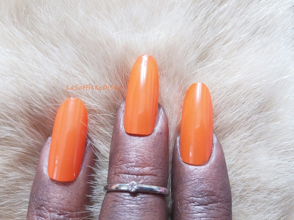 tangerine fake nails oval false nails almond glossy drag queen
