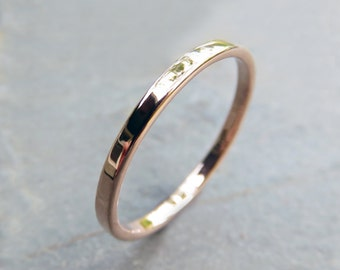 Thin Rose Gold Wedding Band - 2mm Wedding Ring in Recycled Solid 14k Gold - Polished or Matte Rose Gold Wedding Band or Flat Stacking Ring