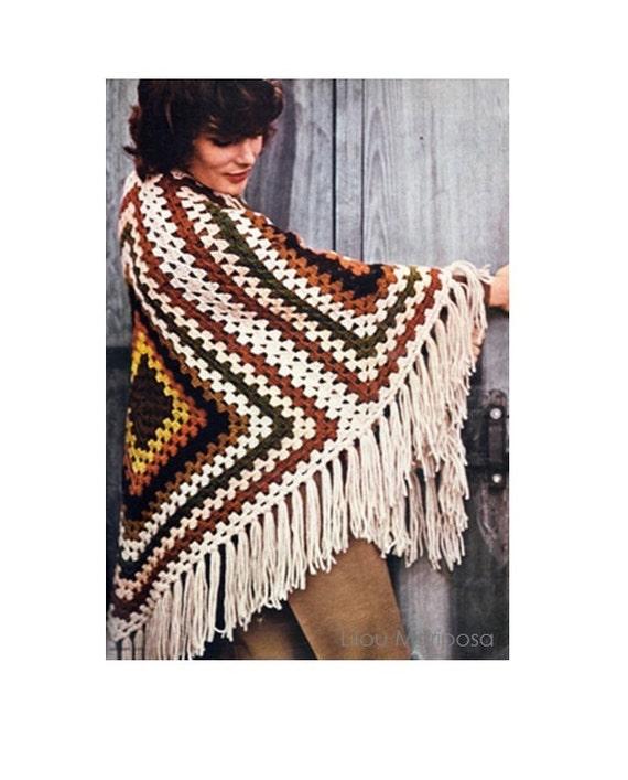 Patron pdf de tejido en crochet poncho rustico tipo mexicano