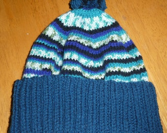 Beanie, child, youth, pom poms. hand knitted, made in Tasmania, hat