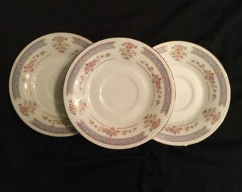 Crescent Fine China. Jie Pai -blue,pink,yellow. Lot of 3 saucers.