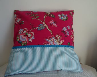 Pillow cover square fabric flowers and stripes very spring, colorful;