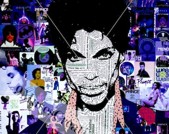 Prince collage all singles and albums in purple portrait  poster reproduction for decorating home, shop, bar, nightclub or give as a gift