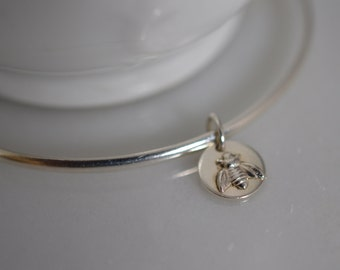 Sterling Silver Bee Bangle Bracelet