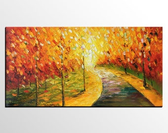 Autumn Tree Art, Original Painting, Oil Painting, Canvas Painting, Wall Art, Abstract Art, Landscape Painting, Large Art, Abstract Painting