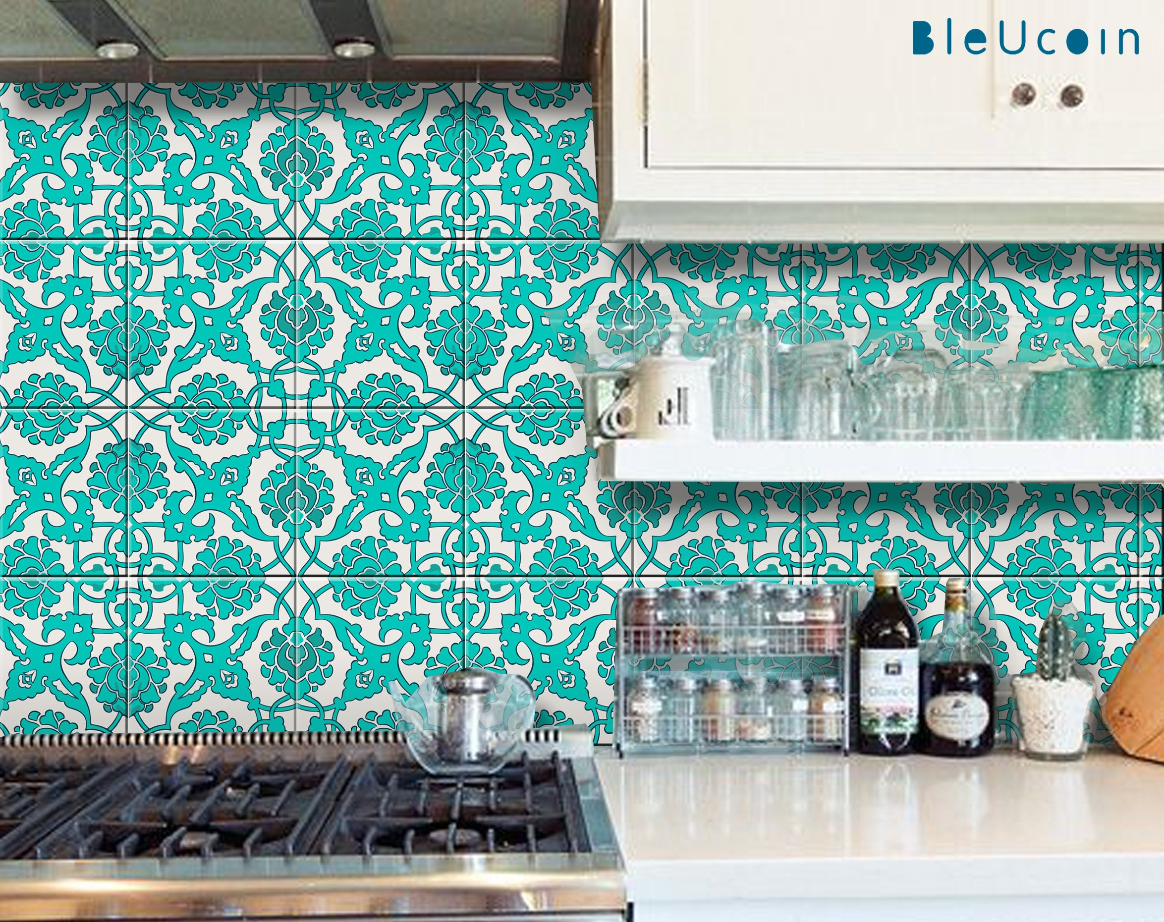 Tile/ Wall /Floor Vinyl Decal : Indian Teal Hand Painted