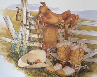 Stephanie Harney Country Western Litho Art / Donald Art Co. Port Chester NY Art Litho / Western Wall Art
