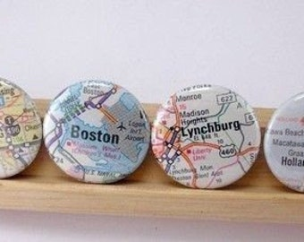 US Atlas or International Map One Inch 1 Inch Button Magnets You Choose Cities Towns States Set of 4